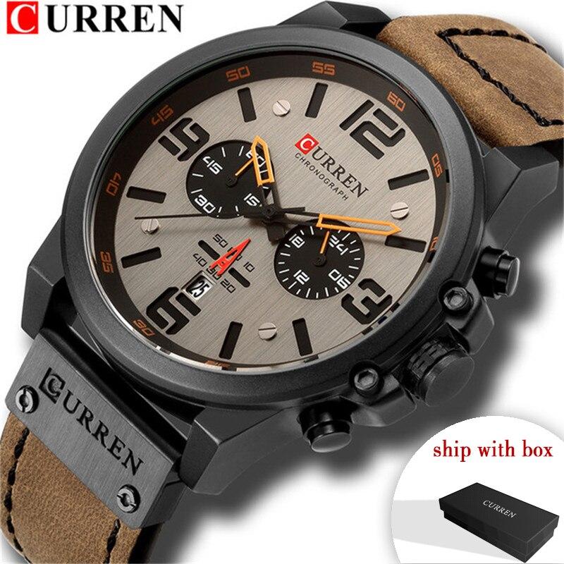 Fashion CURREN Men Military Watches Quartz Men's Wristwatches Leather Military Business Mens Clock Male Hour Relogio Masculino