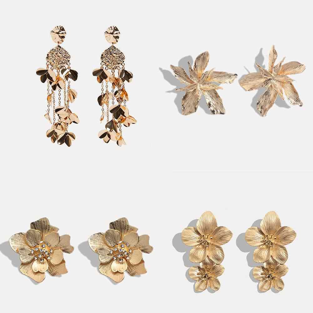 JUST FEEL Shiny Metal Flowers Drop Earrings For Women Gold Silver Color 2019 Za Vintage Fringed Boho Jewelry Statement Earrings