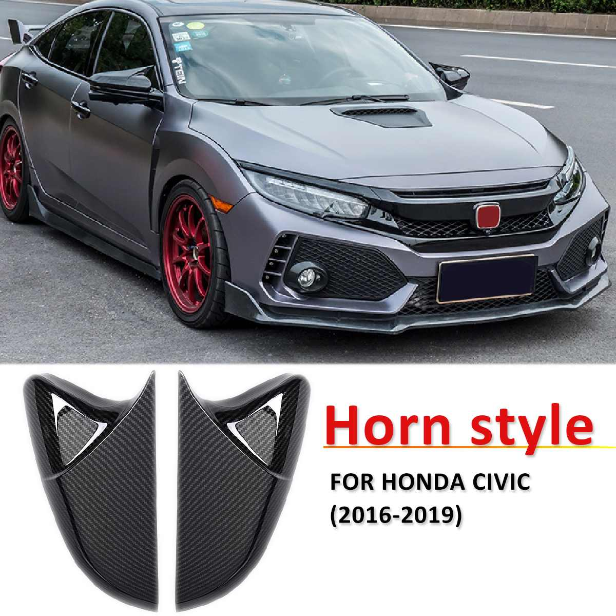 Horn Shape ABS Carbon Fiber Style Rear View Side Mirror Cover Rearview Caps For Honda For Civic 10th 2016 2017 2018