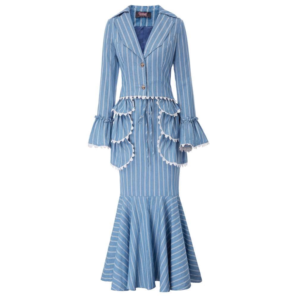 Edwardian 3pcs Set Suit Stripe Pattern Coat Skirt Apron office lady Suit Women's mermaid hem design long flare sleeve sets