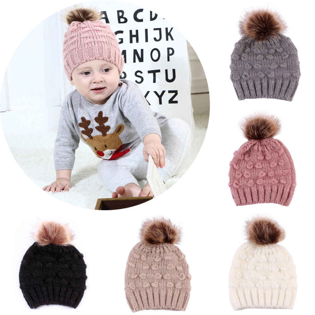 eed9b2c00ba 0-3Y Baby Hat Infant Toddler Newborn Boy Girl Kids Cap Winter Warm Fur Pom