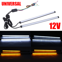 2pcs Universal 29.5cm Switchback Car Amber+White LED DRL Brake Tail Turn Signal Motorcycle Light Strip for Light Accessories zauleon 2pcs 1157 led switchback bulb white amber yellow led dual color for car drl front turn signal light