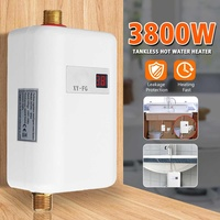 3800W/3400W Electric Water Heater Instant Tankless Water Heater 220V 3.8KW Temperature display Heating Shower Universal