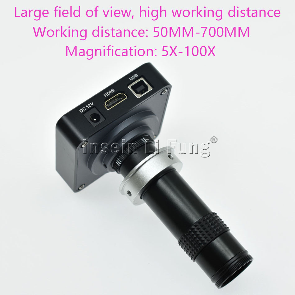 HD 38MP 2K 1080P 60fps HDMI USB Video Microscope Camera+5X-600X Adjustable Magnification Zoom C-mount Lens+LED Light Source