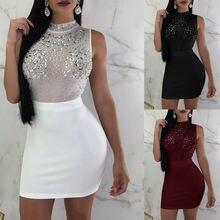Sexy Women Ladies Bandage Bodycon Sleeveless Dress Evening Party Nightwear Club Summer Short Slim Mini Dress