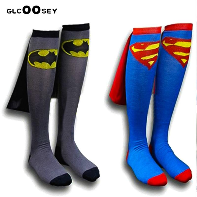 1Pair Good Mens Socks Superman Football Long Socks Cotton Cartoon Cosplay Socks Batman/The Flash Cloak Creative Gifts For Men
