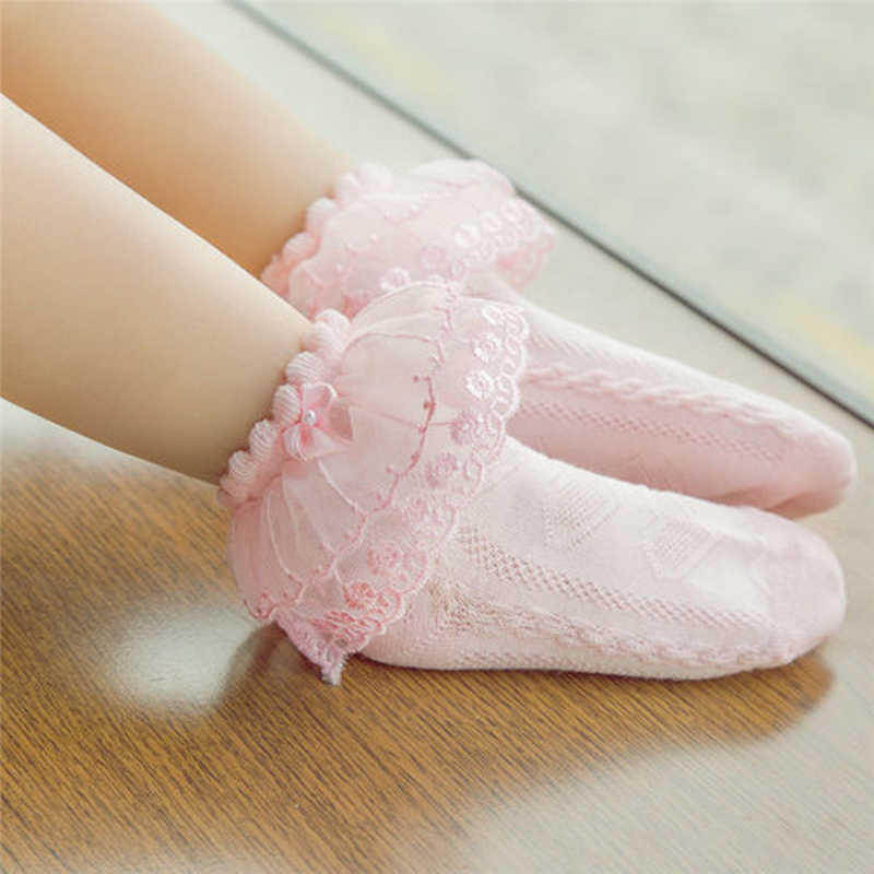 Kids Girls Lace Ruffle Frilly Ankle Socks Princess Short Tutu Cotton Socks