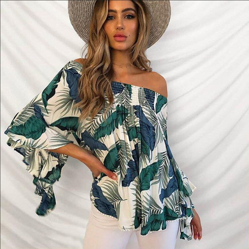 Long Sleeve Blouses Fashion Women Ladies Clothes Loose Pullover Tops Off Shoulder Tops Shirts Blouse