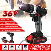 36V Electric Impact Cordless Drill Home DIY 5200mAh 1/2 Lithium Battery Wireless Rechargeable Hand Drill Electric Power Tools
