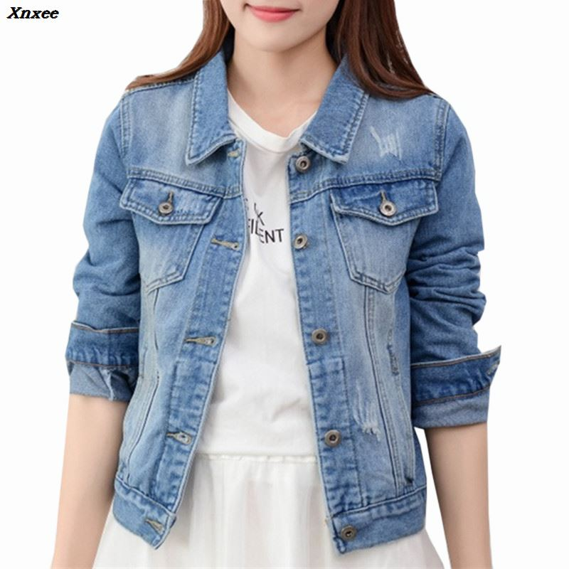 Denim   Jacket   Women Slim Jeans Overcoat Ladies   Basic     Jackets   Tops Turn Down Collar Slim Jeans Top Coat For Women High Quality