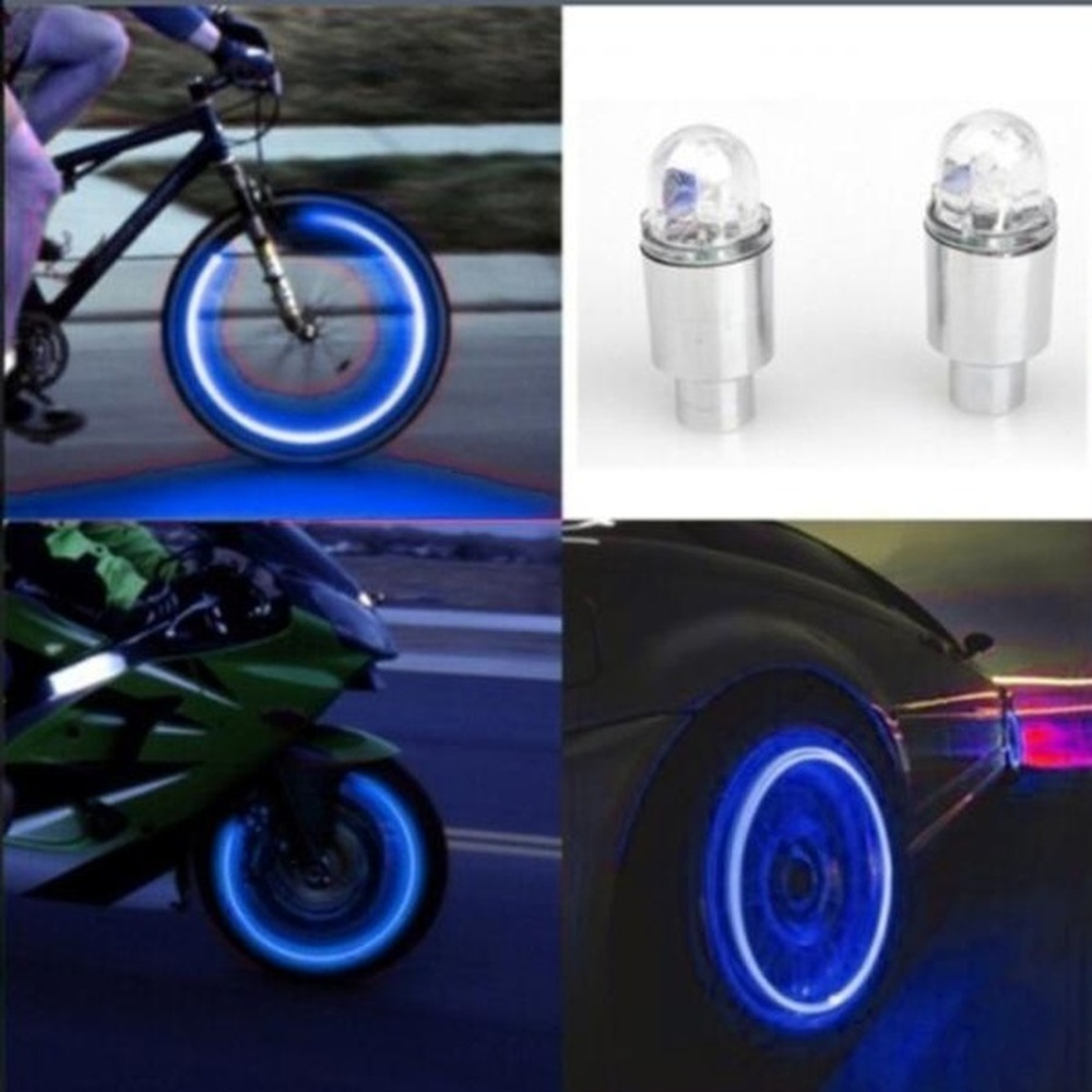 1 Pair Car Styling Neon Blue Strobe LED Light Tire Valve Caps Auto Accessories Motorcycle Bike Supplies