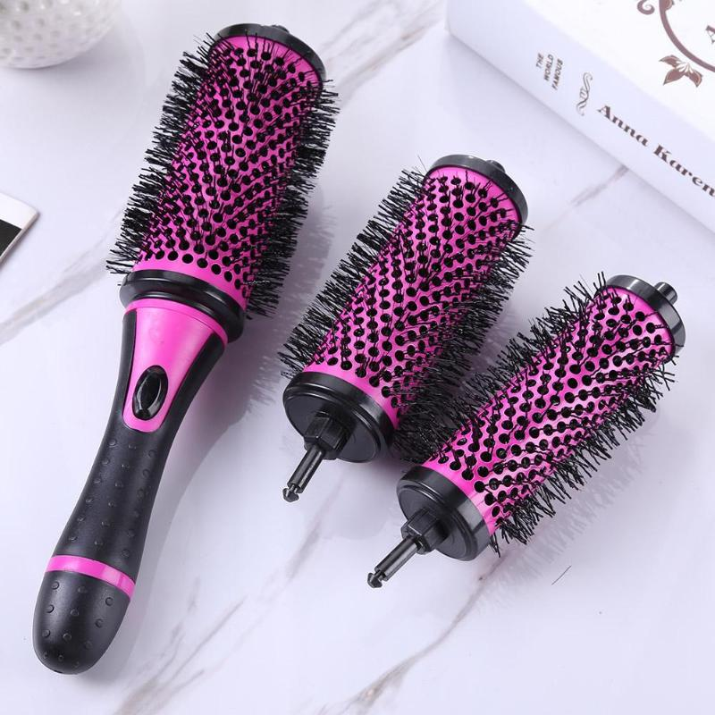 1 Set Round Hair Curling Brush Comb Roller Curl Hair Detachable Handle Combs Hair Curling Styling Tools With 3 Changeable Heads