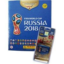 Альбом с 15 наклейками + 4 пакета по 5 наклеек Panini Чемпионат Мира по футболу FIFA 2018