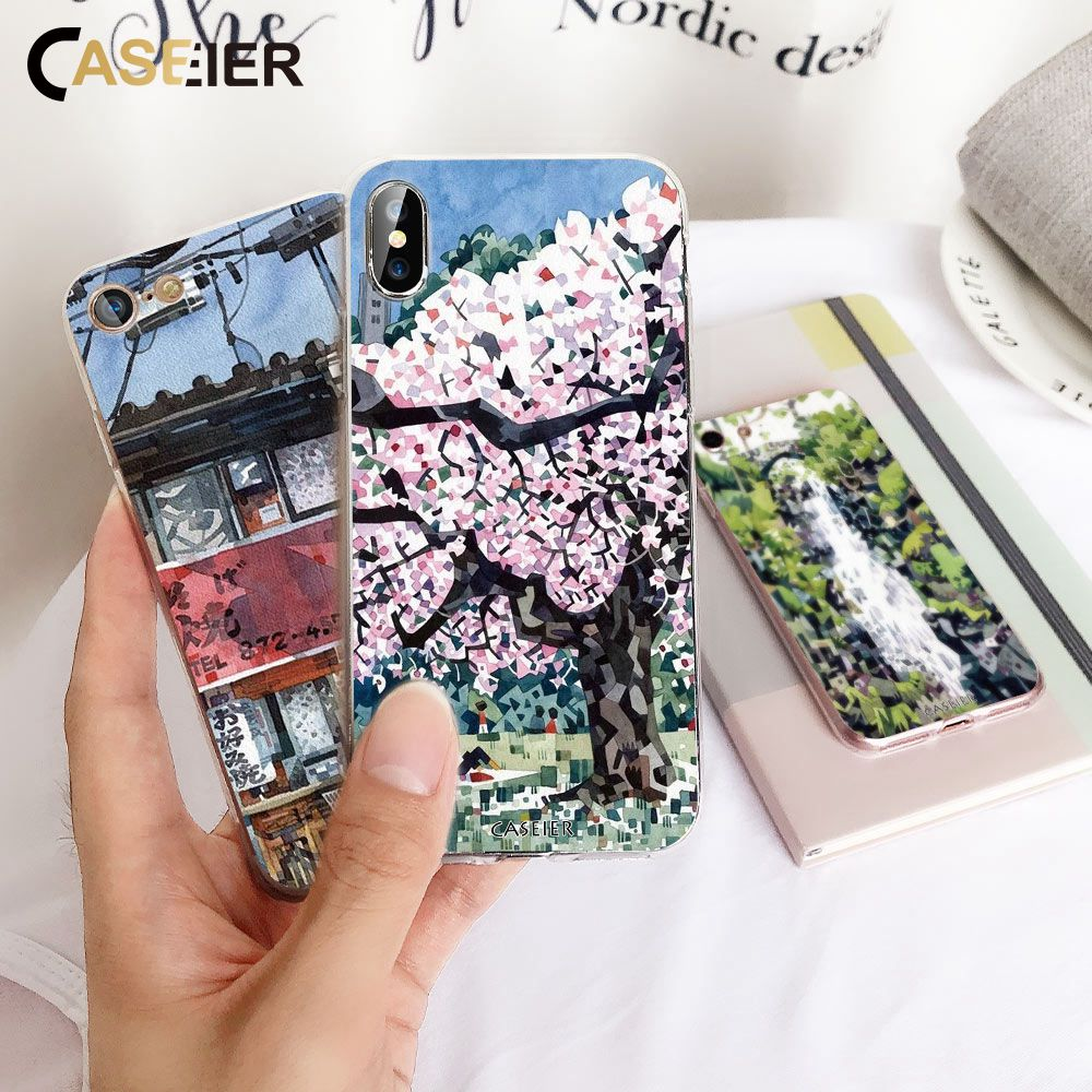 CASEIER Mosaic Phone Case For iPhone X XS MAX XR Japanese Style Soft Silicone Funda For iPhone 8 7 6 6s Plus 5 5s SE Capa Case in Fitted Cases from Cellphones Telecommunications