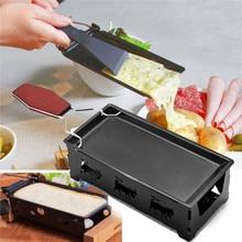 Черная металлическая антипригарная тарелка-гриль для сыра с твердой деревянной ручкой прямоугольная посуда для выпечки кухонная техника 18x8,5x6 см