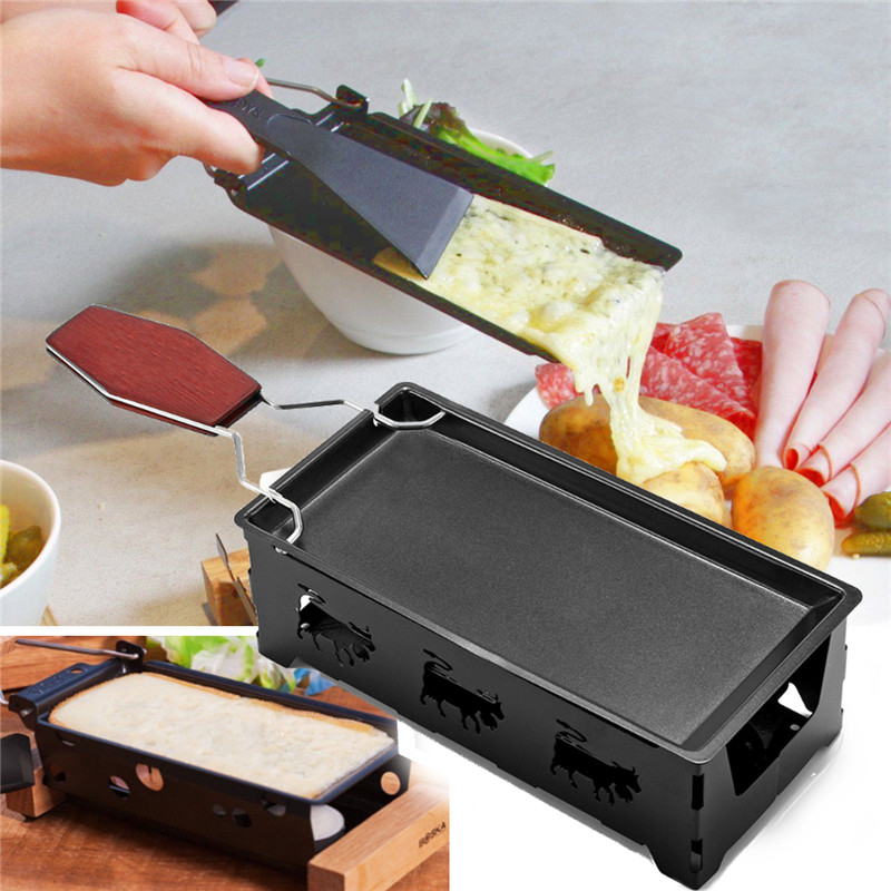 Black Iron Metal Non-stick Cheese Raclette Grill Plate With Solid Wood Handle Rectangular Bakeware Kitchen Appliance 18x8.5x6cm