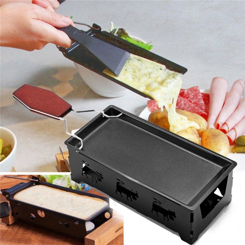 Fer noir métal antiadhésif fromage Raclette Grill plaque avec manche en bois massif rectangulaire ustensiles de cuisson appareil de cuisine 18x8.5x6 cm