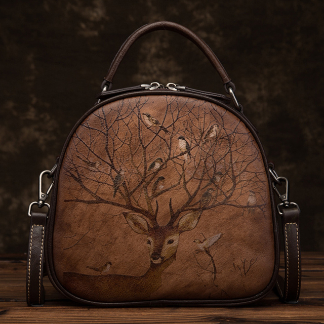 High Quality Women Top Handle Genuine Leather Bag Tote Bags Retro Deer Pattern Leisure Crossbody Small Shoulder Messenger Bags