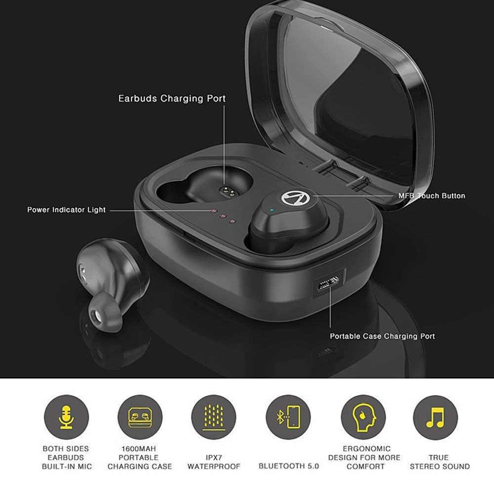 VAORLO zestaw słuchawkowy Bluetooth 5.0 zestaw słuchawkowy prawdziwe bezprzewodowe wkładki douszne sterowanie dotykowe Stereo Bluetooth słuchawki z mikrofonem w ucho IPX7 wodoodporne sportowe