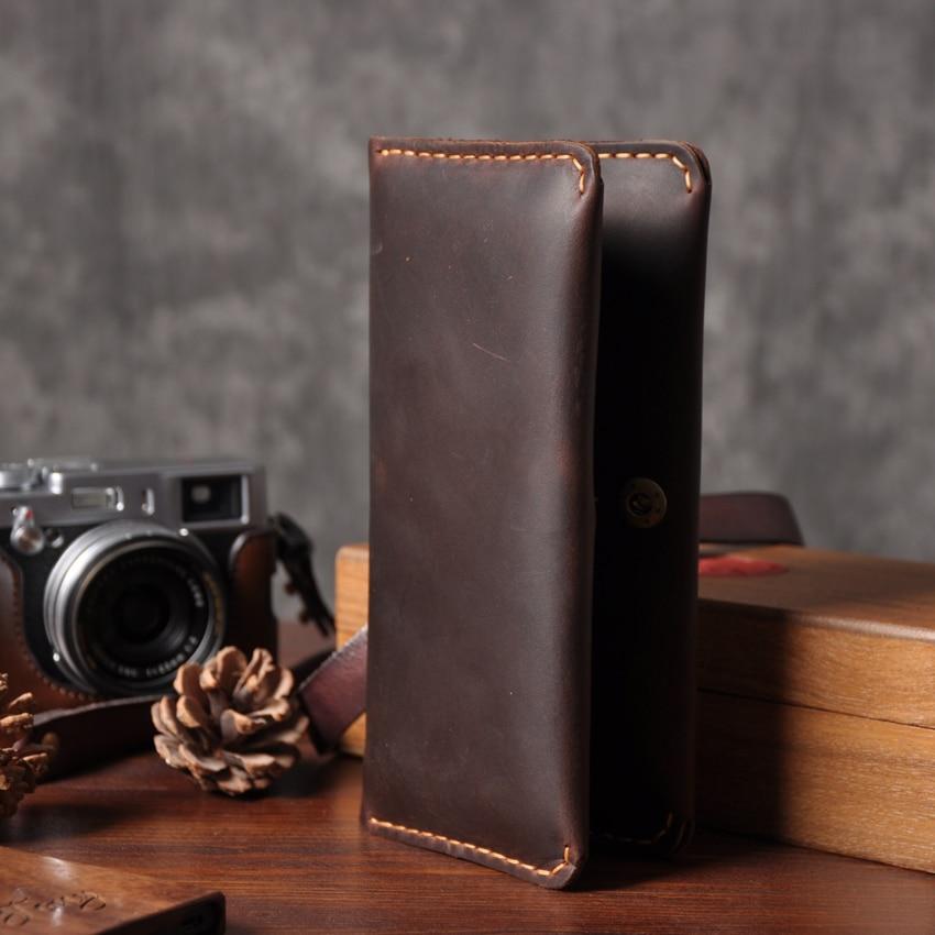 Handmade Vintage Crazy Horse Genuine Leather Wallet Men Wallet Leather Male Wallet Long Style Clutch Bag Male Purse Money Clips