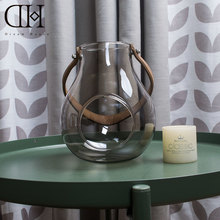 Modern glass candle holder with leather belt candlestick home decoration candle lantern wedding decoration candle stand
