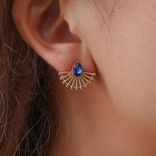 Gold Color Zinc Alloy Trendy Water Drop Royal Blue Geometric Cubic Zirconia Stud Earrings for Women