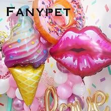 Globos de aluminio de palomitas de maíz para labial, globos de Donuts rosados para Baby Shower, adornos de feliz cumpleaños, inflable de helio, dos juguetes para niños dulces, 1 ud.