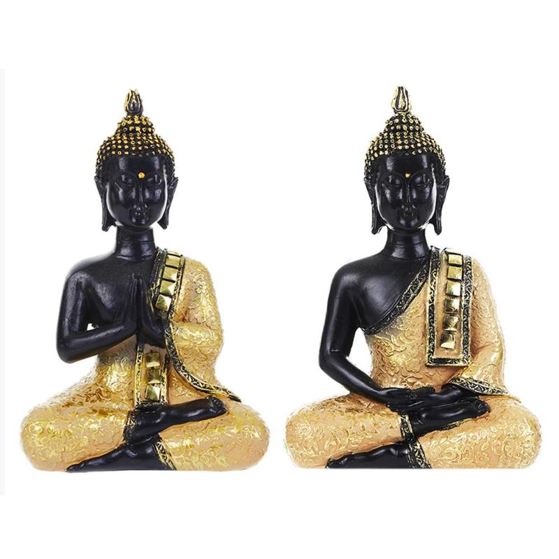 Exquisite Buddha Statue Mini Resin Thailand Buddha Sculpture Figurine Miniature Religious Temple Decoration Ornaments Decor 2019