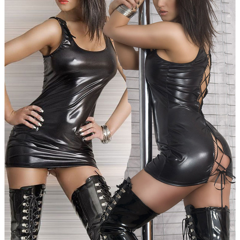New Women Sexy Clubwear Lace Up <font><b>PVC</b></font> Faux Leather Bandage Mini <font><b>Dress</b></font> Wet Look image