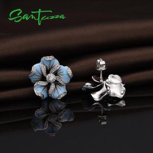 Image 5 - SANTUZZA Silber Stud Ohrringe Für Frauen 925 Sterling Silber Blaue Blume Funkelnden Zirkonia Mode Schmuck Handmade Emaille