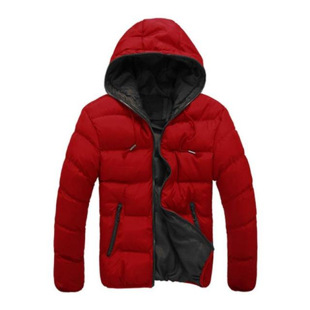 2019 Winter Cotton Warm Outwear Parka Winter Jacket Men Hooded Collar Coat Mens Warm Down Casual Coats with Zipper Pocket 2