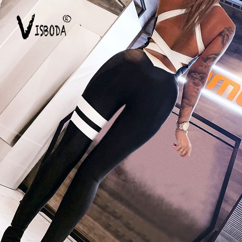 Women Sexy Bodycon Jumpsuit Fitness Elastic Bandage Backless Bodysuit Fashion Female Black Striped Workout Push Up Jumpsuit