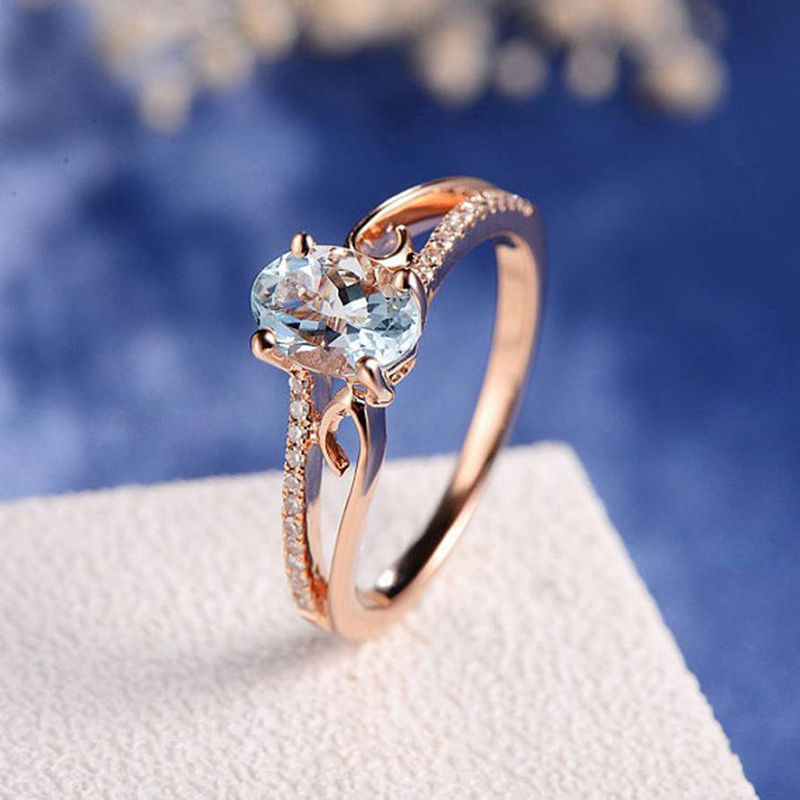 Hot Sale High Quality Crystal Gifts Wedding Unique Zircon Ring Oval Women Rose Golden Bride Rings Valentines Gift Size6 7 8 9 10