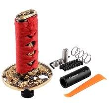 Мода 1 комплект Универсальный самурайский меч кнопка для включения и выключения автомобиля Катана Металл взвешенная Спортивная рукоятка КПП с адаптером автомобильные аксессуары