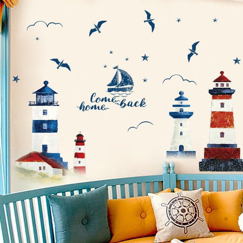 Voile bateau mouette phare oiseaux Sticker Mural vinyle bricolage Mural Art pour salon décoration adesivo de parede
