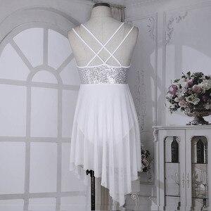 Image 5 - TiaoBug trajes de baile lírico de lentejuelas para mujer, malla asimétrica, tutú de Ballet, vestido de baile, gimnasia para adultos, leotardo