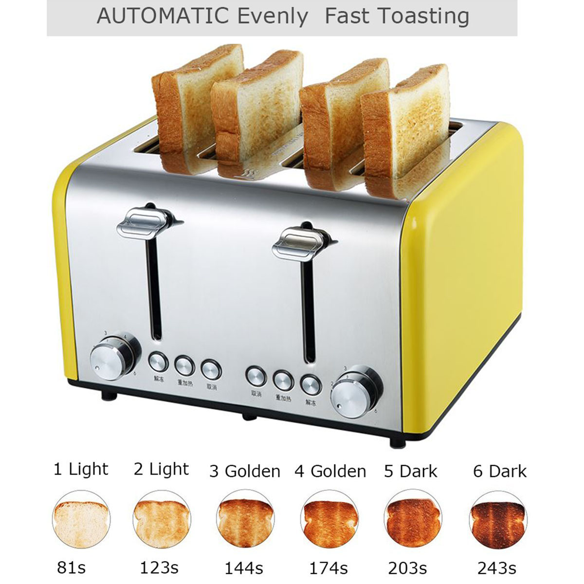 220V Stainless Steel Toaster Automatic Fast Heating Bread Sandwich Household Breakfast Maker Electric Toaster Wide Slot220V Stainless Steel Toaster Automatic Fast Heating Bread Sandwich Household Breakfast Maker Electric Toaster Wide Slot