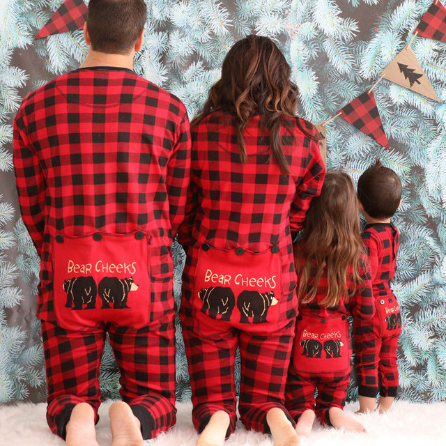 8a92abece7 Christmas Family Matching Pajamas Set Adult Women Men Kid Baby Red Plaid Sleepwear  Nightwear Parent-