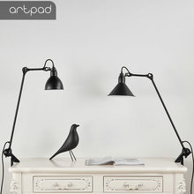 Artpad Black Flexible Swing Arm LED Office Reading Lamp with Clip Eye Care Clamp Mount Adjustable Desk Lamp E27 With EU Plug in claite flexible swing arm clamp mount lamp office studio home e27 e26 table black desk light ac85 265v
