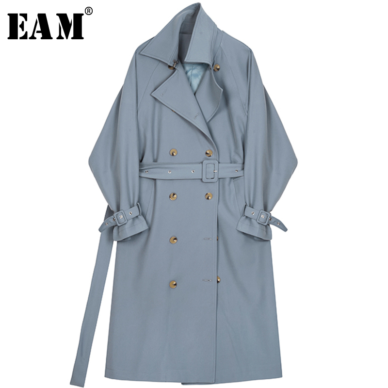 [EAM] 2019 New Spring Summer Lapel Long Sleeve Blue Loose Double Breasted Long Big Size Windbreaker Women   Trench   Fashion JQ225