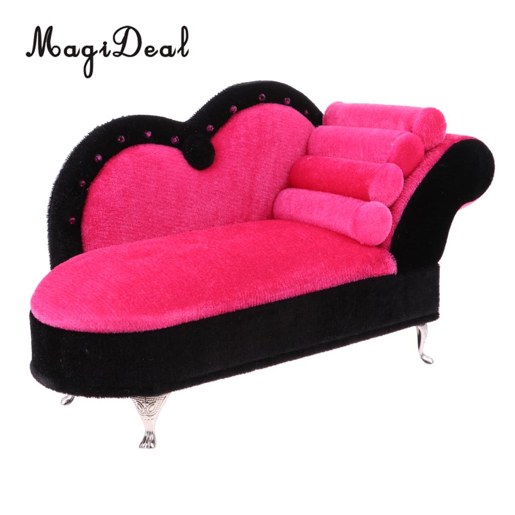1/6 European Style Rosy Sofa Chaise Lounge Recliner Dolls House Furniture Model for 12 Inch Hot Toys Doll Action Figure Acc recliner