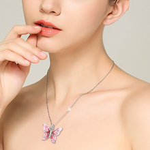 StrollGirl luxury sterling silver 925 lovely butterfly necklaces & pendants with red enamel fashion jewelry gift