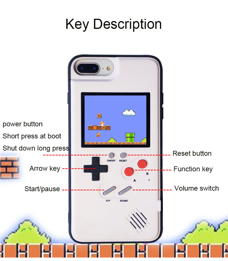 buy online e0711 91c49 US $22.91 |Full Color Display Cover For iPhone 7 X Case Silicone Retro  Nintendo Tetris Gameboy Case For iphone 6 XR Xs Max Coques Capa-in Fitted  Cases ...