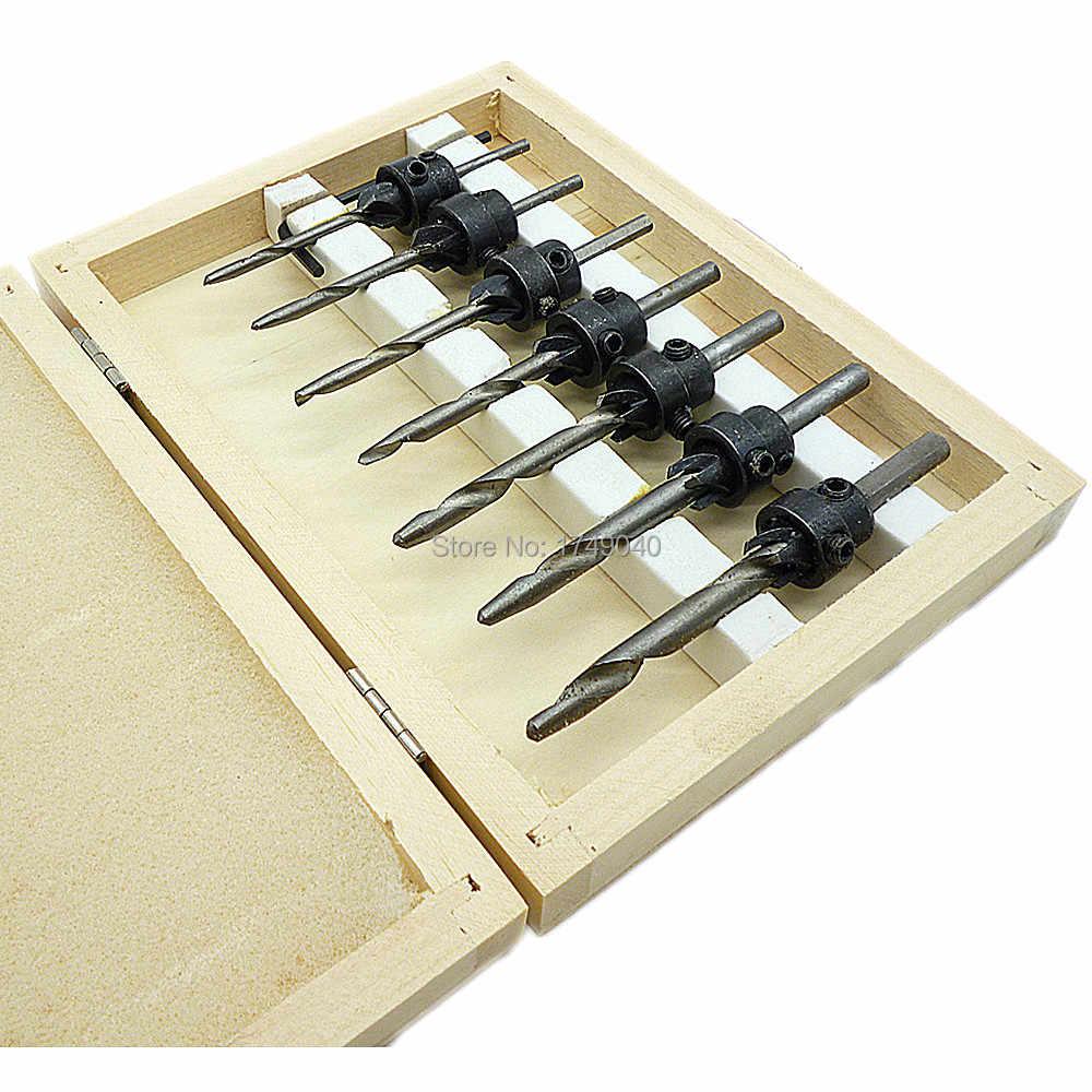 22PCS Tapered Drill Countersink Bit Screw Set Wood Pilot Hole Woodworking Tools