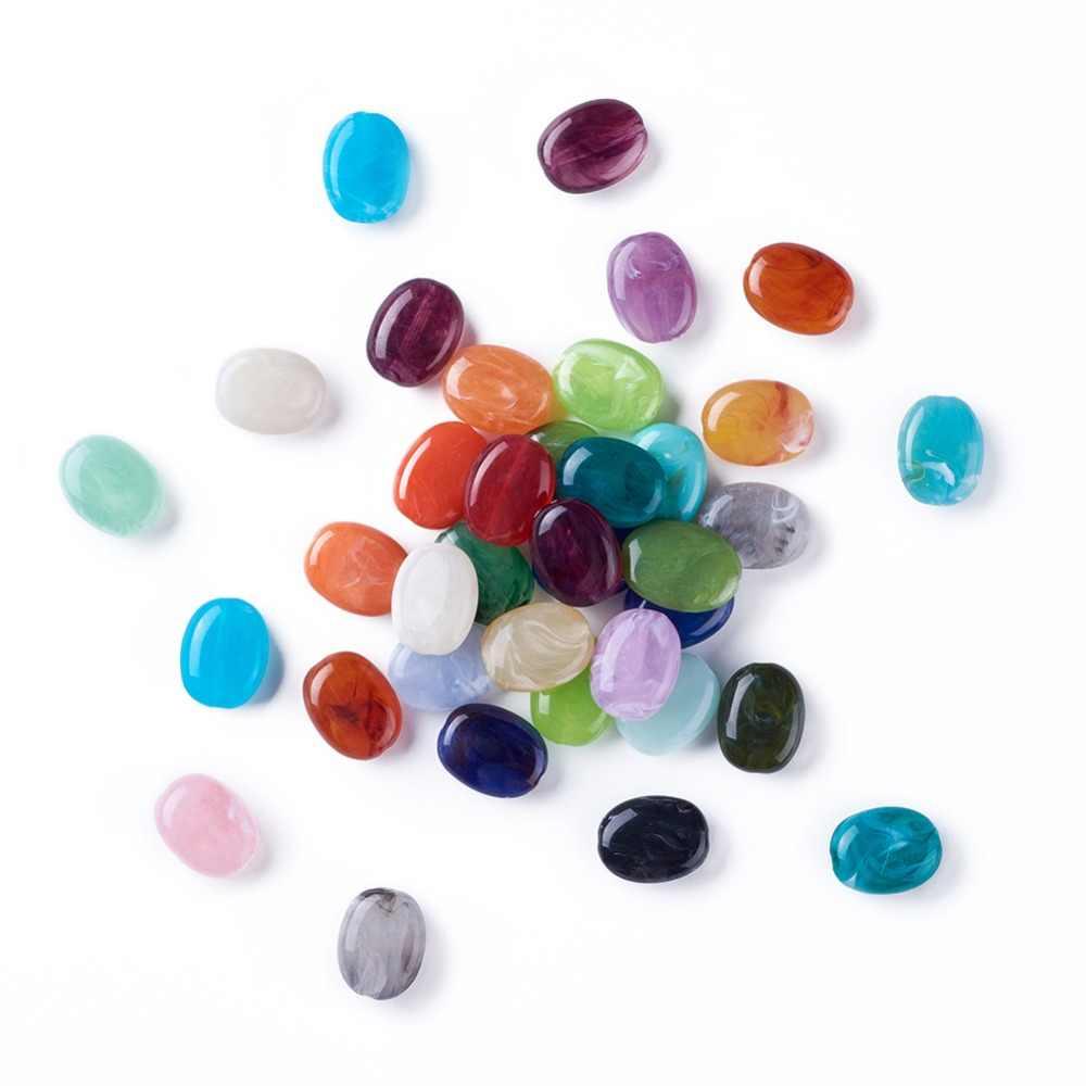 20pcs อะคริลิคผสมเทียมหินลูกปัดรูปไข่ลูกปัดสำหรับเครื่องประดับ DIY,19 มมกว้าง 15 มม.,7.5 มม.หนา: 2 มม