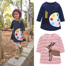 5a3533a113b Toddler Kids Baby Girl Christmas Tunic Top Deer Print Long Sleeve Stripped  Tops(China)