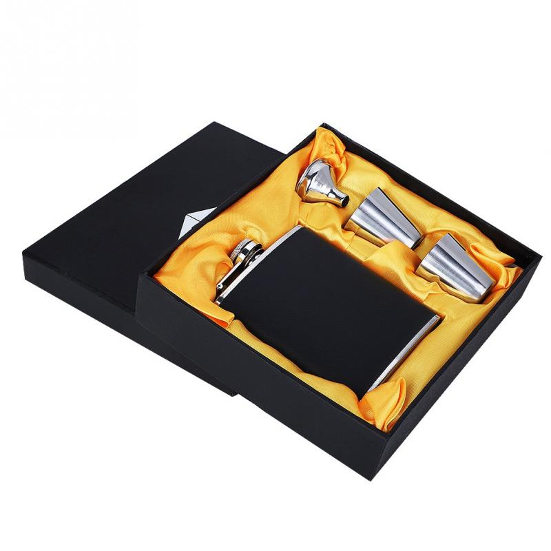 New Stainless Steel Hip Flask Black Leather Funnel with Two Wine Cups Set for Birthday Gift