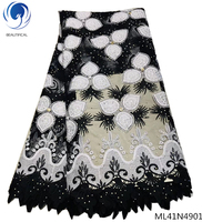 Beautifical french lace fabrics with rhinestones 2019 high quality laces fabrics african bridal fabrics lace 5yards/lot ML41N49