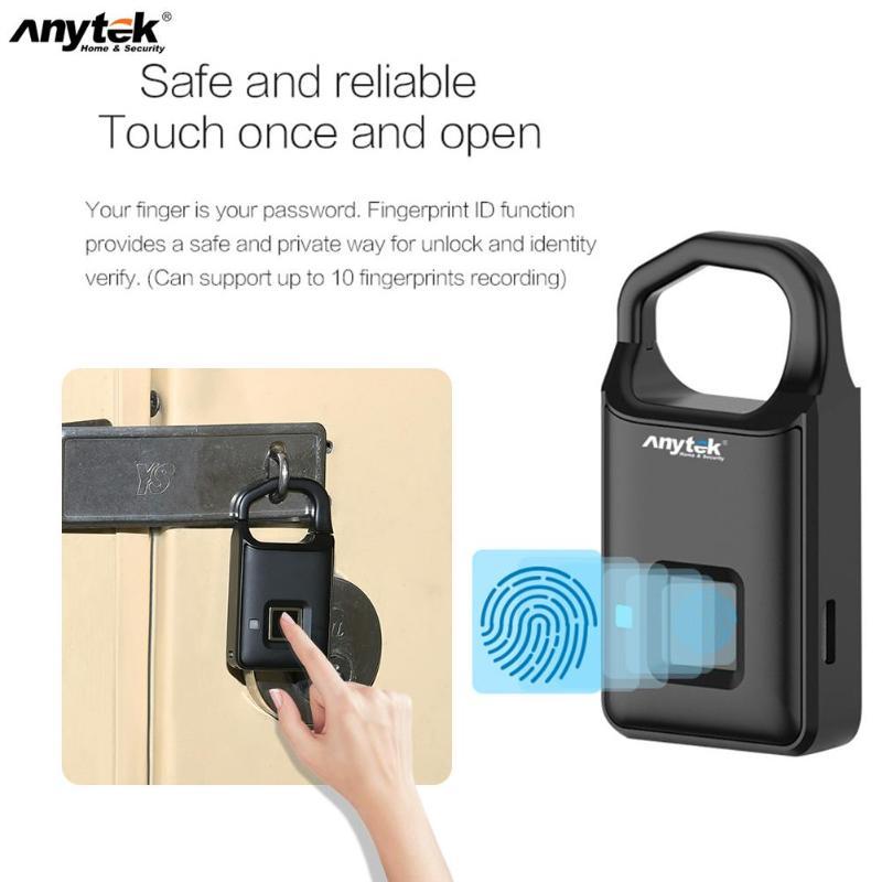Anytek P4 Fingerprint Lock USB Rechargeable Smart Keyless Anti-Theft Padlock Suitcase Door Lock Burglar Alarm Security 2019
