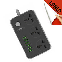 LDNIO Electrical Socket Extension Power Strip EU Plug with 3.4A 6 USB Charger Adapter 3 AC Outlet Surge Protection Switch Home